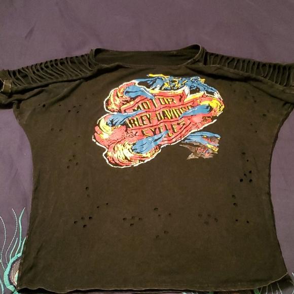 Harley Davidson detailed shoulder t shirt Xl